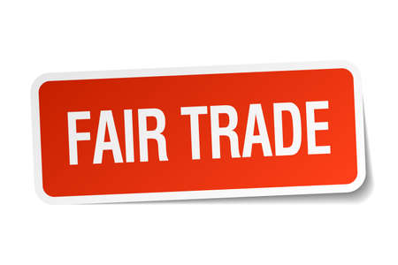 fair trade: fair trade red square sticker isolated on white Illustration
