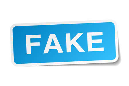 fake: fake blue square sticker isolated on white