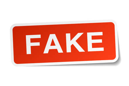 fake: fake red square sticker isolated on white