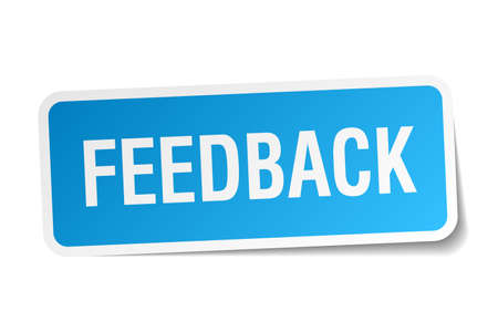 feedback sticker: feedback blue square sticker isolated on white Illustration