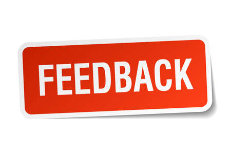 feedback sticker: feedback red square sticker isolated on white