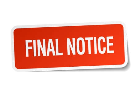 final: final notice red square sticker isolated on white