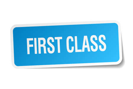 first class: first class blue square sticker isolated on white