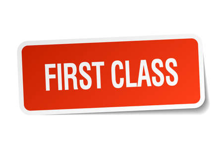 first class: first class red square sticker isolated on white