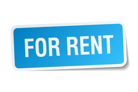 for rent: for rent blue square sticker isolated on white