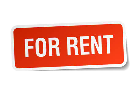 for rent: for rent red square sticker isolated on white Illustration