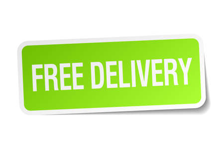 free delivery: free delivery green square sticker on white background Illustration