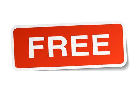 gratis rode sticker op wit wordt geïsoleerd Stock Illustratie