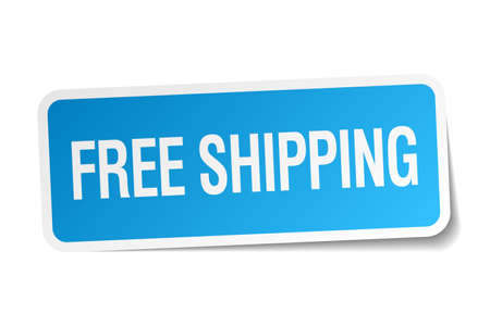 free shipping blue square sticker isolated on white Vector