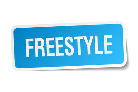 freestyle blue square sticker isolated on white