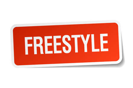 freestyle: freestyle red square sticker isolated on white