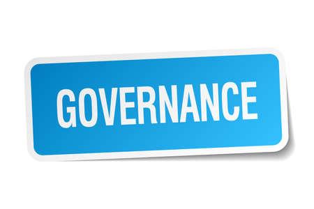 governance: governance-blauwe sticker geïsoleerd op wit Stock Illustratie