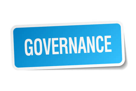 governance: governance blue square sticker isolated on white