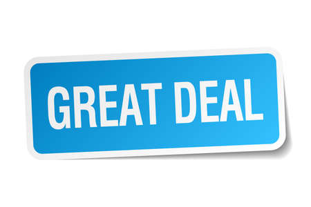 great deal: great deal blue square sticker isolated on white