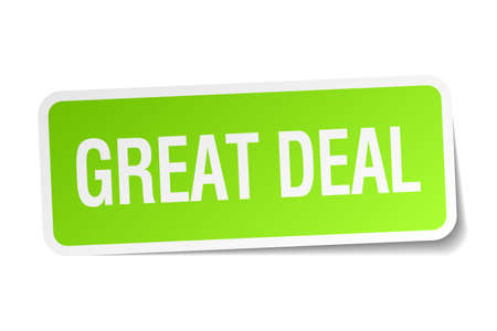 great deal: great deal green square sticker on white background