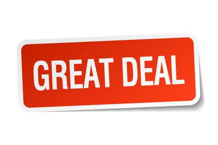 great deal: great deal red square sticker isolated on white