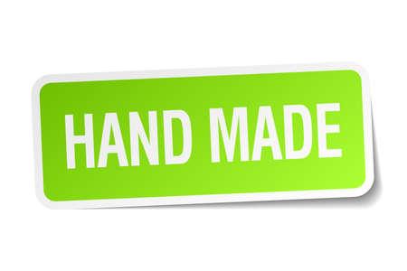 hand made: hecho a mano etiqueta verde cuadrado sobre fondo blanco
