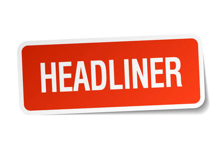 headliner: headliner red square sticker isolated on white Illustration