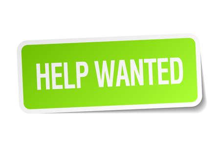 help wanted sign: Help Wanted etiqueta cuadrada verde sobre fondo blanco