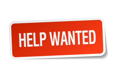 help wanted: help wanted red square sticker isolated on white Illustration