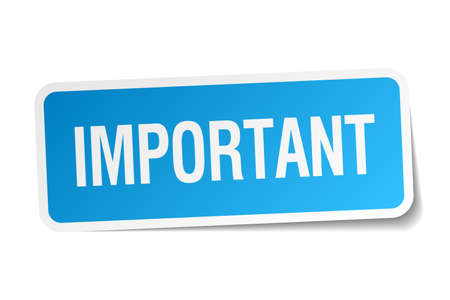 important: important blue square sticker isolated on white