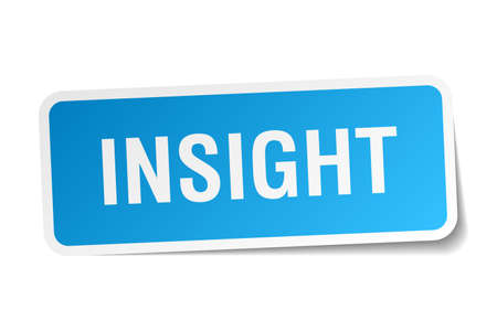 insight: insight blue square sticker isolated on white