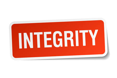 integrity: integrity red square sticker isolated on white
