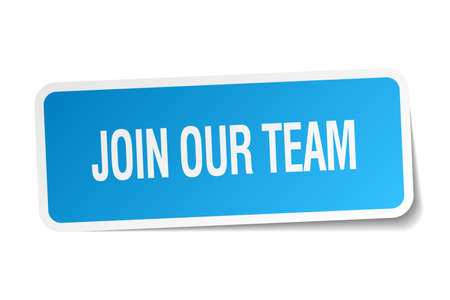 join our team: join our team blue square sticker isolated on white