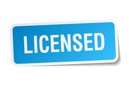 licensed: licensed blue square sticker isolated on white