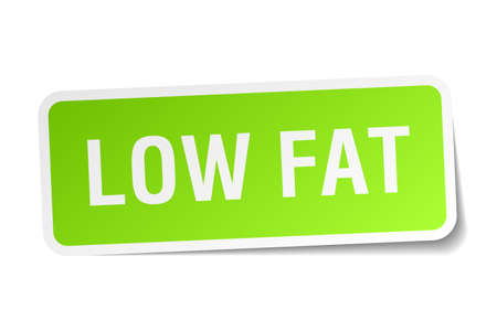 low fat: low fat green square sticker on white background