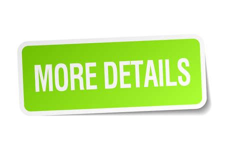 the details: more details green square sticker on white background Illustration