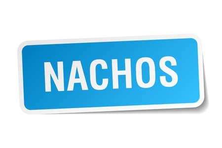 nachos: nachos blue square sticker isolated on white Illustration