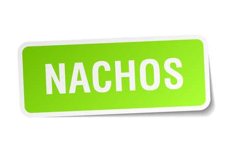 nachos: nachos green square sticker on white background