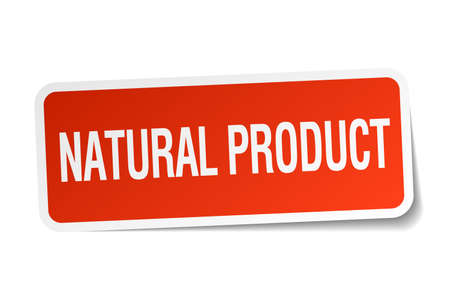 natural product: natural product red square sticker isolated on white