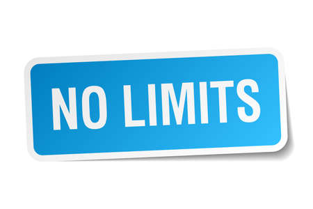 limits: no limits blue square sticker isolated on white Illustration