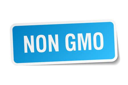 non: non gmo blue square sticker isolated on white Illustration