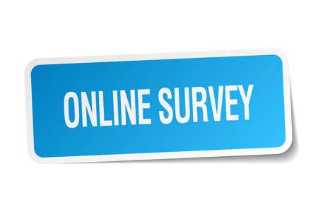 online survey: online survey blue square sticker isolated on white Illustration