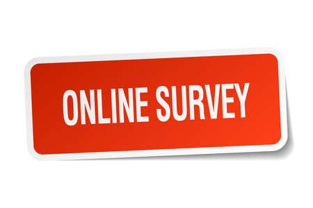 online survey: online survey red square sticker isolated on white Illustration