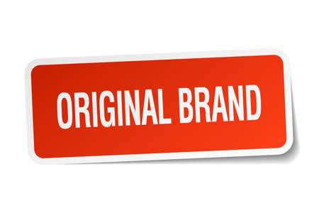 original: original brand red square sticker isolated on white