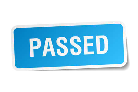 passed: passed blue square sticker isolated on white Illustration