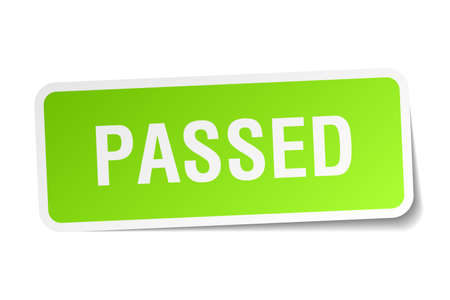 passed: passed green square sticker on white background
