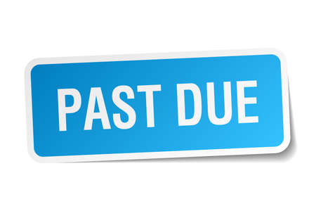 past due: past due blue square sticker isolated on white Illustration