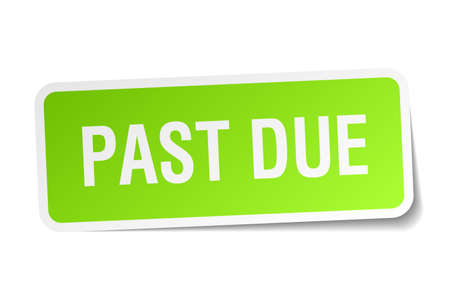 past due: past due green square sticker on white background