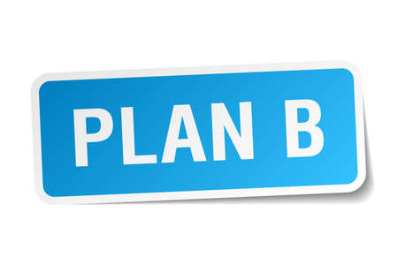 plan b: plan b blue square sticker isolated on white