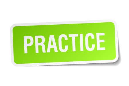 практика: практиковать зеленый квадрат наклейку на белом фоне