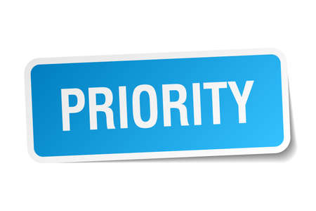 priority: priority blue square sticker isolated on white