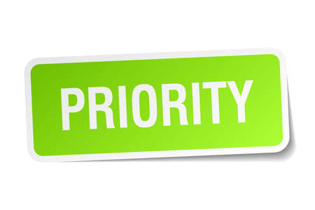 priority: priority green square sticker on white background Illustration