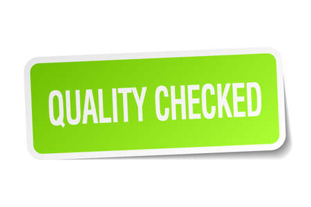 checked: quality checked green square sticker on white background