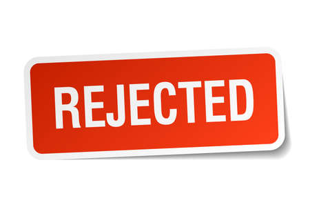 rejected: rejected red square sticker isolated on white
