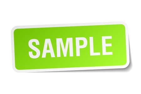 sample green square sticker on white background Illustration